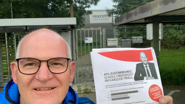 Frühverteilaktion bei der Rexroth in Augsfeld